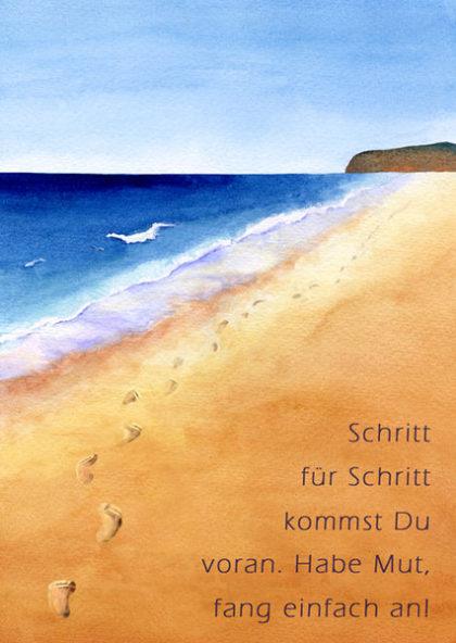 Inspirationspostkarte: Strand Fußabdrücke - 5er Pack 3