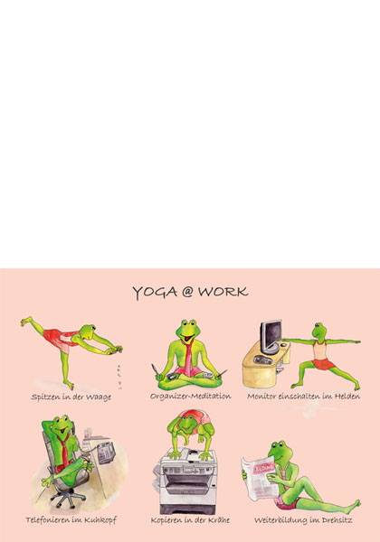 Postkarten: Yoga at work - 5er Pack 3